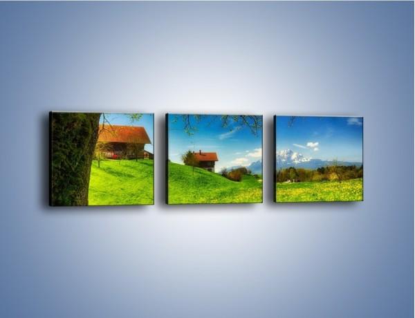Obraz na płótnie – Chatki na polanie – trzyczęściowy KN1085AW1