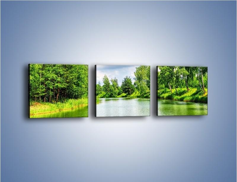 Obraz na płótnie – Spokojna woda i las – trzyczęściowy KN1086W1