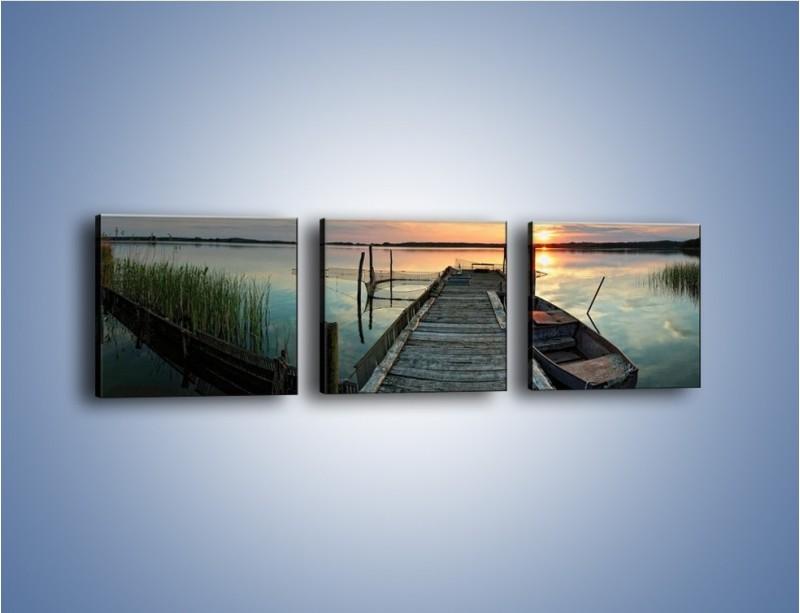 Obraz na płótnie – Stary most i łódź – trzyczęściowy KN1096AW1