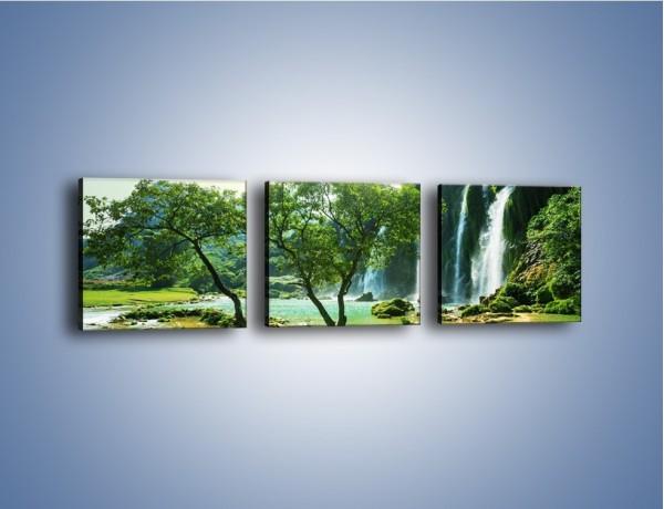 Obraz na płótnie – Łąka prosto do wodospadu – trzyczęściowy KN1098W1