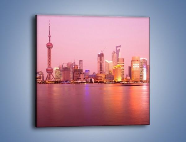 Obraz na płótnie – Miasto o poranku w odcieniach różu – jednoczęściowy kwadratowy AM020