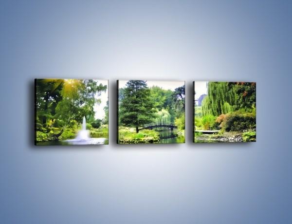 Obraz na płótnie – Drzewka woda i mostek – trzyczęściowy KN1114W1