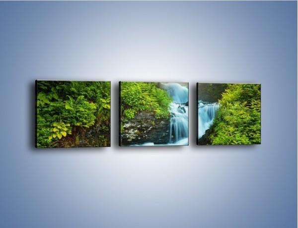 Obraz na płótnie – Zjeżdżalnia z wodospadu – trzyczęściowy KN1116AW1