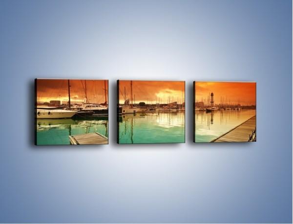 Obraz na płótnie – Jachty na wodzie – trzyczęściowy KN1127AW1