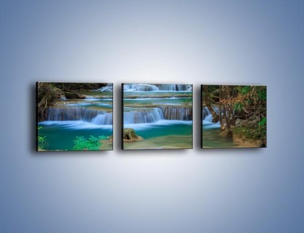 Obraz na płótnie – Schody tworzone wodospadem – trzyczęściowy KN1172AW1