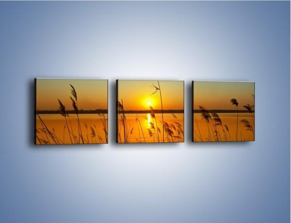 Obraz na płótnie – Jezioro o zachodzie słońca – trzyczęściowy KN1195AW1