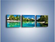 Obraz na płótnie – Biały piasek i palmy – trzyczęściowy KN1201AW1