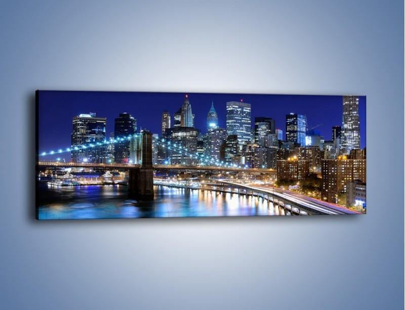 Obraz na płótnie – Nocne światła Nowego Yorku – jednoczęściowy panoramiczny AM726