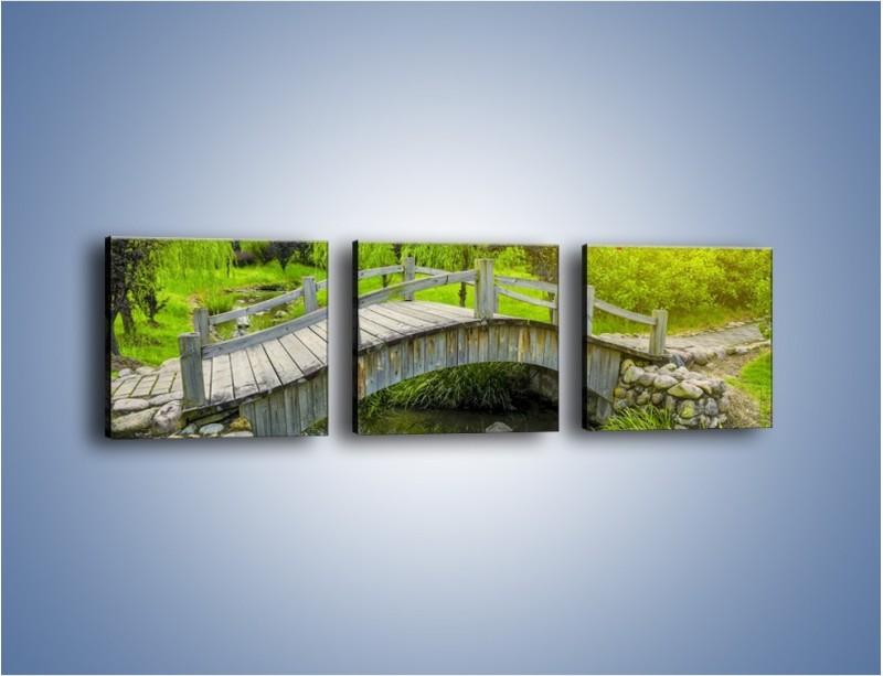Obraz na płótnie – Mały mostek przez rzeczkę – trzyczęściowy KN1254AW1