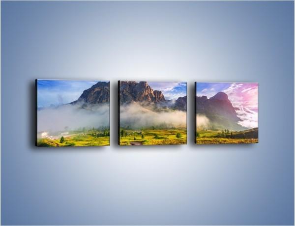 Obraz na płótnie – Góry ubrane w mgłę – trzyczęściowy KN1282AW1