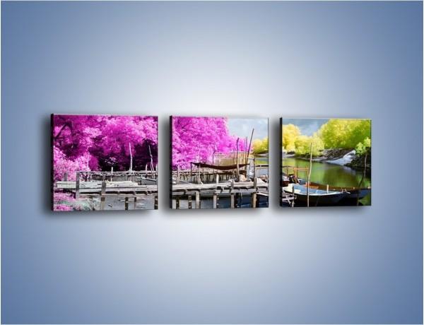 Obraz na płótnie – Wyraźne kolory w szarym tle – trzyczęściowy KN1334AW1