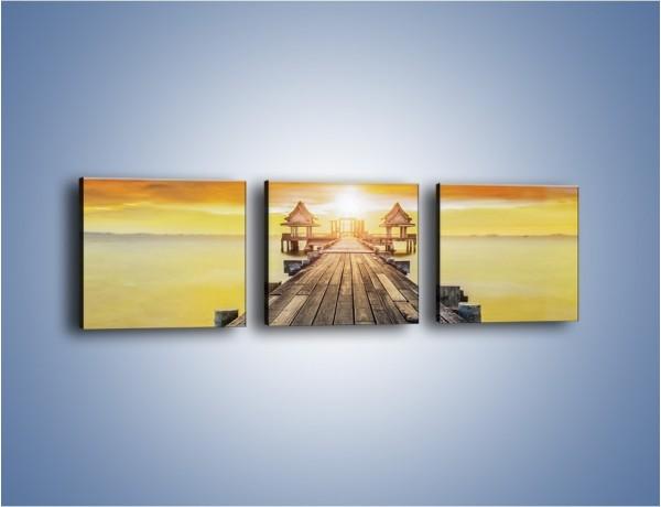 Obraz na płótnie – Powolutku przez mostek w stronę słońca – trzyczęściowy KN1357AW1