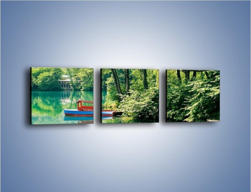 Obraz na płótnie – Wakacje nad jeziorem – trzyczęściowy KN155W1