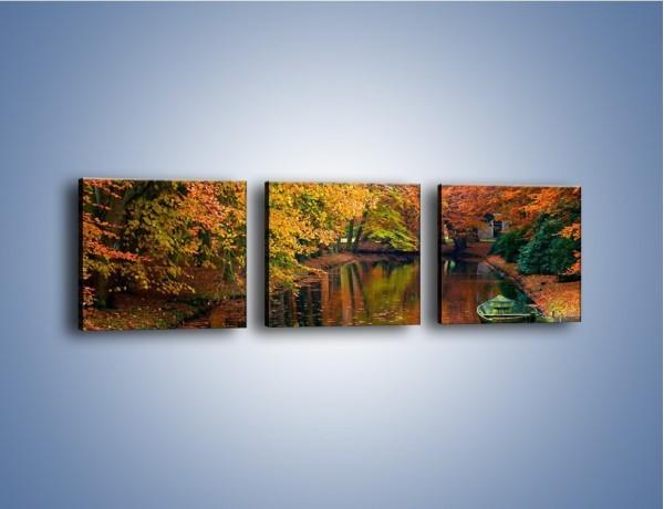 Obraz na płótnie – Spadające liście na wodzie – trzyczęściowy KN179W1