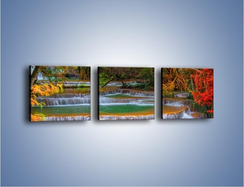 Obraz na płótnie – Schodki z wodospadów – trzyczęściowy KN287W1