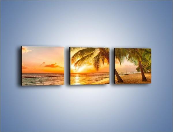 Obraz na płótnie – Wieczorny spacer brzegiem morza – trzyczęściowy KN338W1