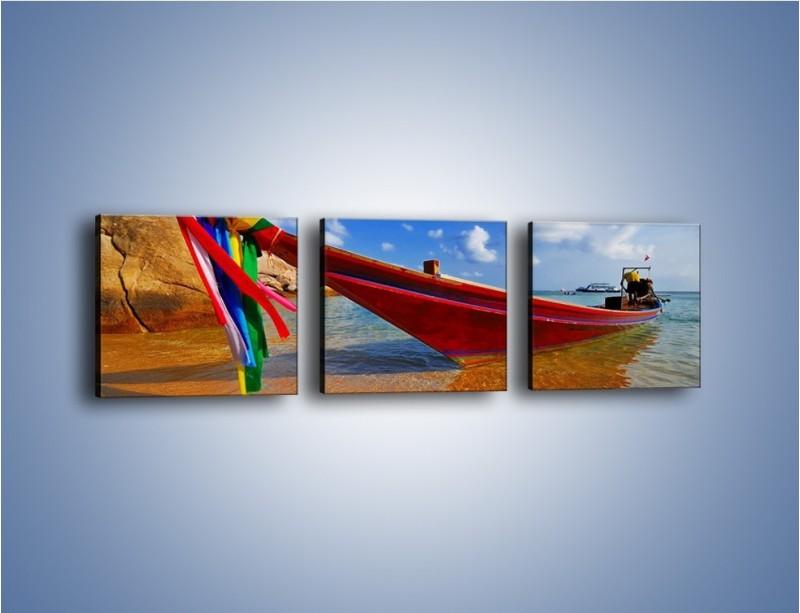 Obraz na płótnie – Kolorowa łódź na brzegu – trzyczęściowy KN415W1