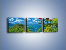 Obraz na płótnie – Bordowe kwiaty w górskim krajobrazie – trzyczęściowy KN561W1