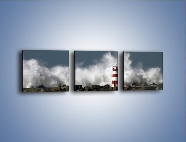Obraz na płótnie – Latarnia morska w sztormie – trzyczęściowy KN626W1