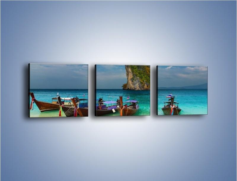 Obraz na płótnie – Przymocowane łódeczki do brzegu – trzyczęściowy KN657W1