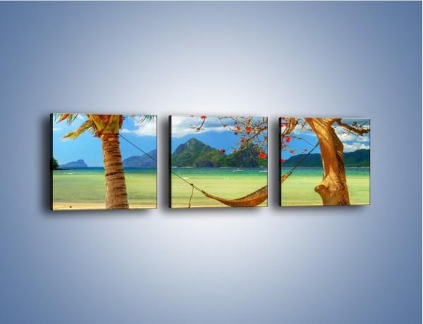 Obraz na płótnie – Widok z hamaku na ocean – trzyczęściowy KN665W1