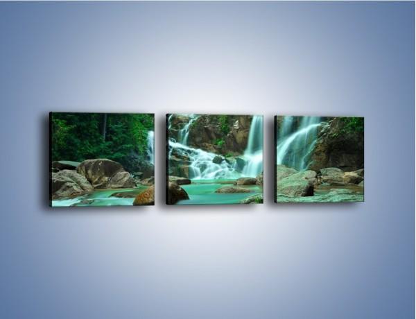Obraz na płótnie – Wodospad i turkus w wodzie – trzyczęściowy KN681W1
