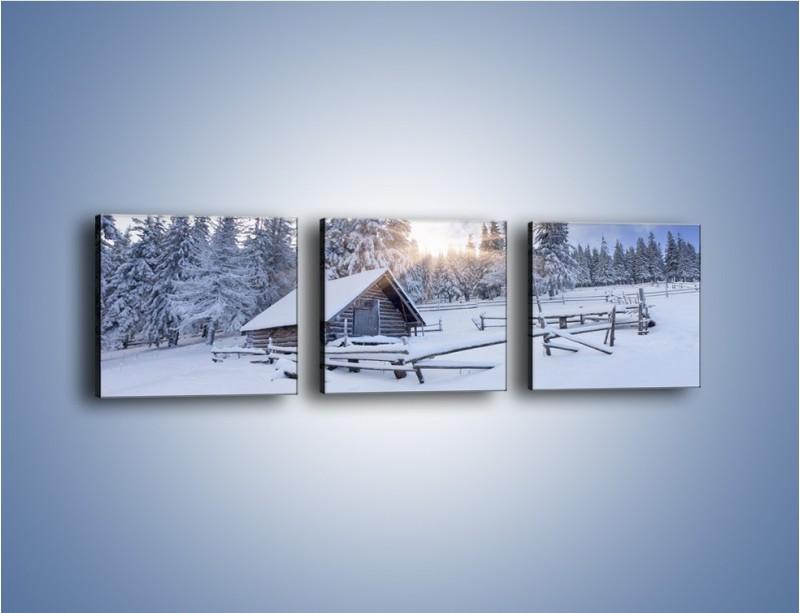Obraz na płótnie – Chatka zatopiona w śniegu – trzyczęściowy KN696W1