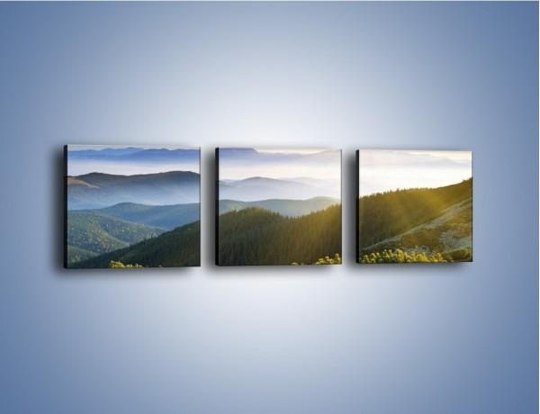Obraz na płótnie – Widok na górskie doliny – trzyczęściowy KN719W1