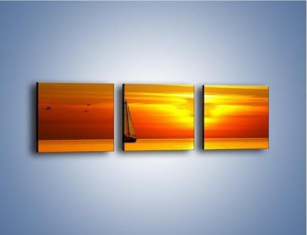 Obraz na płótnie – Rejs przy zachodzie słońca – trzyczęściowy KN723W1