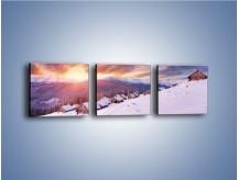 Obraz na płótnie – Chatka w śnieżnym dywanie – trzyczęściowy KN725W1