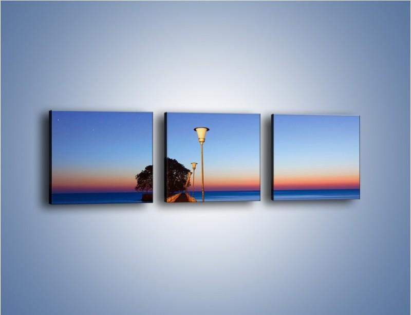 Obraz na płótnie – Wieczorny spacer po tafli morza – trzyczęściowy KN759W1