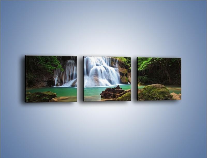 Obraz na płótnie – Drzewa schowane za wodospadem – trzyczęściowy KN792W1