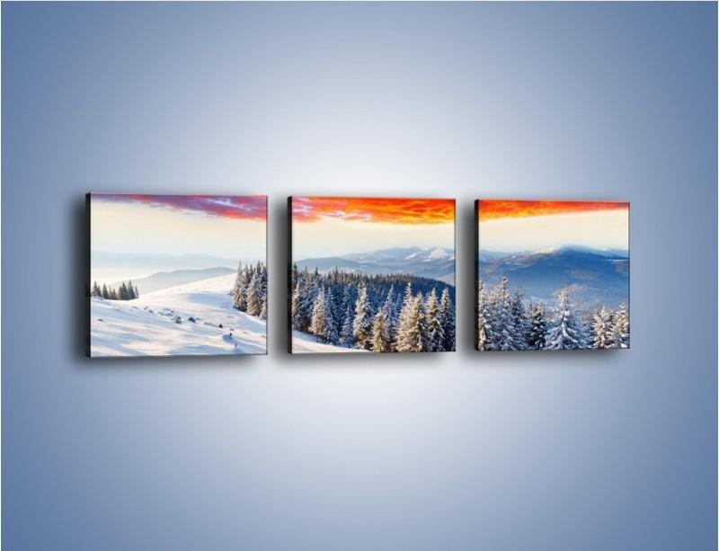Obraz na płótnie – Cały urok gór zimą – trzyczęściowy KN805W1