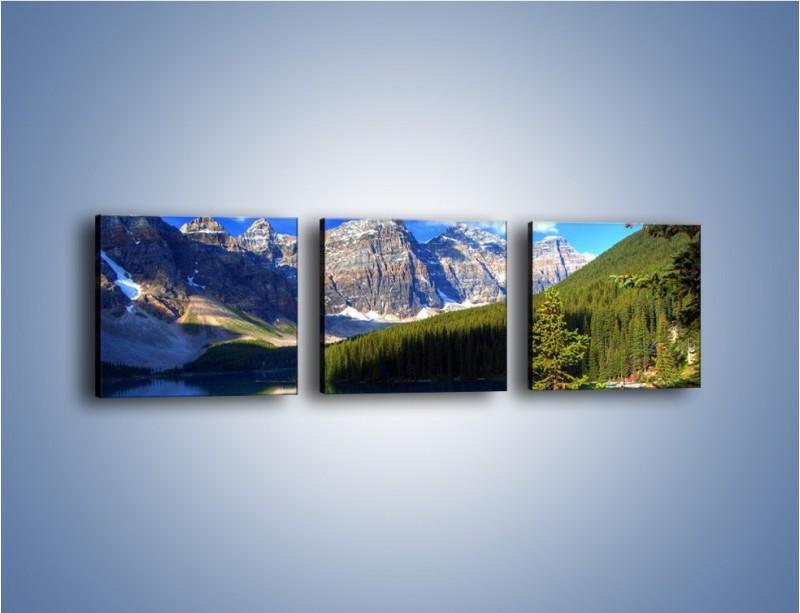 Obraz na płótnie – Góry i ich wodne odbicie – trzyczęściowy KN839W1