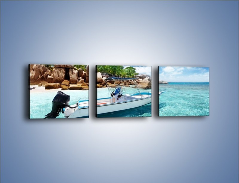 Obraz na płótnie – Błękit w wodzie i niebie – trzyczęściowy KN852W1