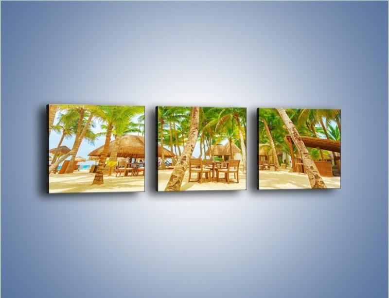 Obraz na płótnie – Słoneczna sjesta pod palmami – trzyczęściowy KN886W1