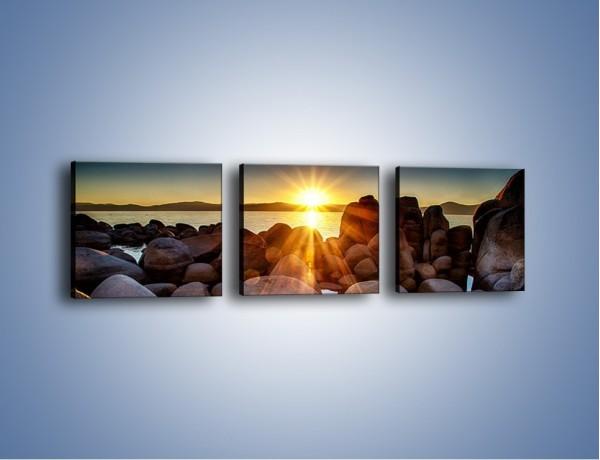 Obraz na płótnie – Kamienna wyspa w słońcu – trzyczęściowy KN888W1