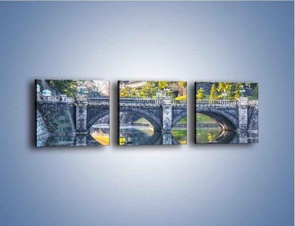 Obraz na płótnie – Kamienny most z okularami – trzyczęściowy KN899W1