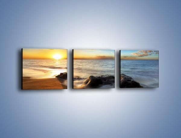Obraz na płótnie – Kąpiel kamieni w morzu – trzyczęściowy KN904W1