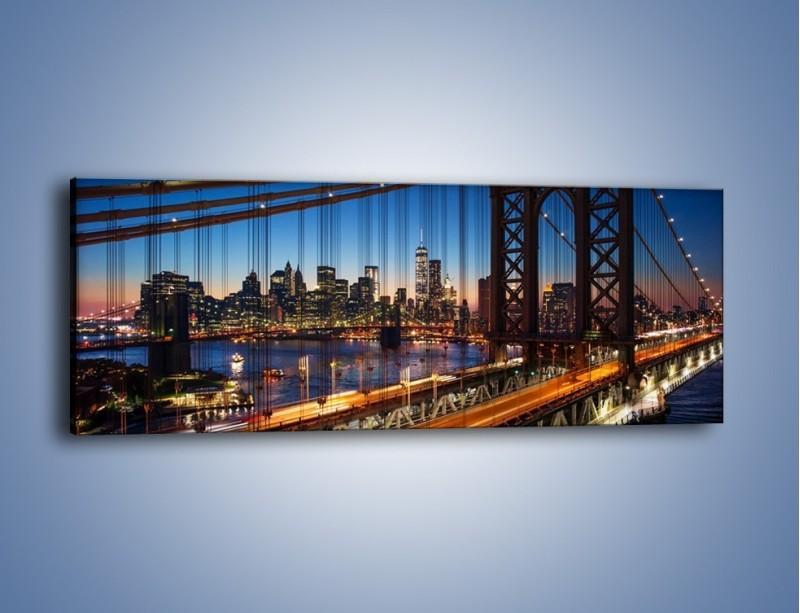Obraz na płótnie – Nowojorskie mosty na tle Manhattanu – jednoczęściowy panoramiczny AM751