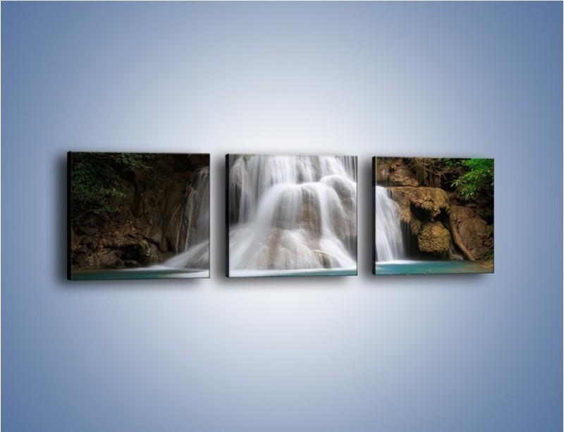Obraz na płótnie – Wodospad i kolorowe rybki – trzyczęściowy KN994W1
