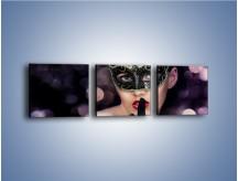 Obraz na płótnie – Dziewczyna w czarnej masce – trzyczęściowy L030W1