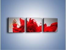 Obraz na płótnie – Czerwona róża i kobieta – trzyczęściowy L144W1