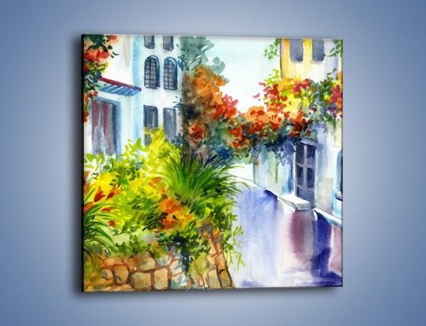 Obraz na płótnie – Widok z okien na kwiaty – jednoczęściowy kwadratowy GR165