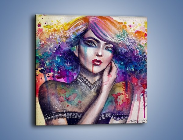 Obraz na płótnie – Kobieta z kolorowym przekazem – jednoczęściowy kwadratowy GR166