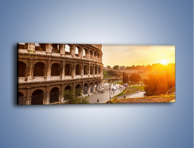 Obraz na płótnie – Zachód słońca nad Rzymem – jednoczęściowy panoramiczny AM763