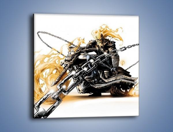 Obraz na płótnie – Mroczna postać na motorze – jednoczęściowy kwadratowy GR167
