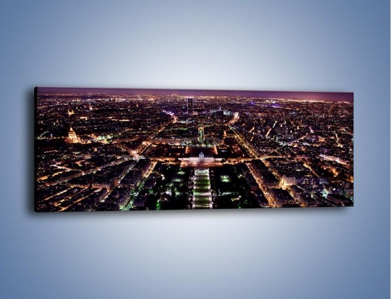 Obraz na płótnie – Panorama Paryża z Wieży Eiffla – jednoczęściowy panoramiczny AM764
