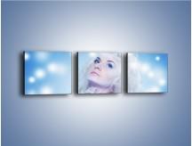 Obraz na płótnie – Biała dama i światełka – trzyczęściowy L318W1