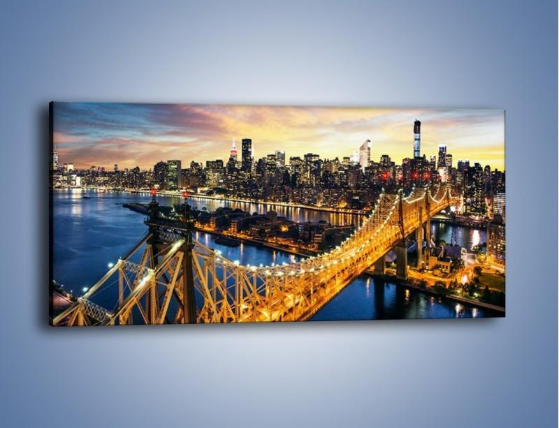 Obraz na płótnie – Queensboro Bridge w Nowym Yorku – jednoczęściowy panoramiczny AM768